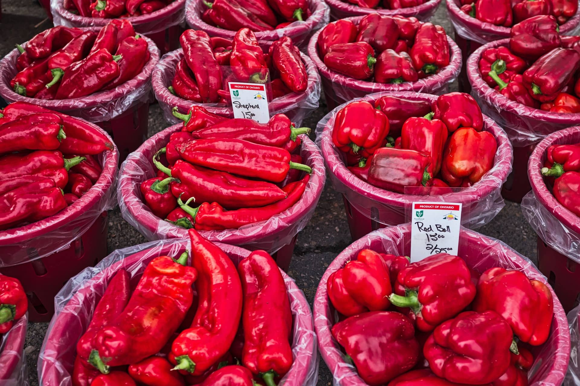 Red peppers at a market
